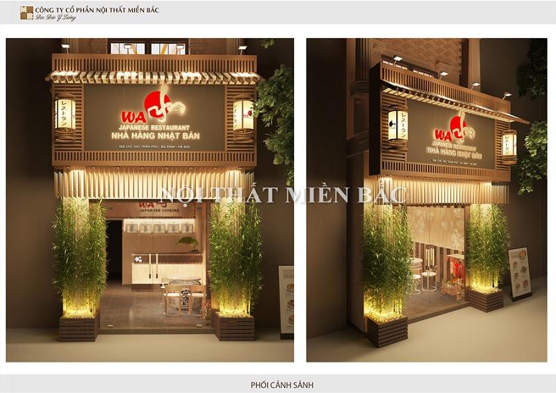 Thiết kế nhà hàng phong cách Nhật với mặt tiền của nhà hàng Washi sẽ luôn thu hút người nhìn vởi sự trang trọng, thân thiện và mộc mạc nhất