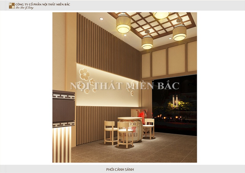 Thiết kế nhà hàng phong cách Nhật quầy lễ tân vô cùng nhã nhặn, mộc mạc với toàn bộ không gian từ chất liệu gỗ cùng những đường nét hoa văn đậm dấu ấn Nhật