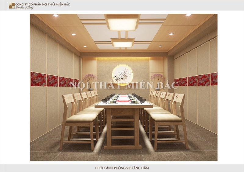 Khu vực ăn uống phòng Vip của tầng hầm trong thiết kế nội thất nhà hàng Nhật Bản vô cùng nổi bật đảm bảo sự tinh tế và hiệu quả nhất