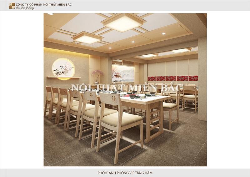 Lựa chọn những chiếc bàn gỗ dài, cách điệu không quá cầu kỳ nhưng luôn tóat lên sự tự nhiên và tiện ích nhất cho thiết kế nhà hàng phong cách Nhậ