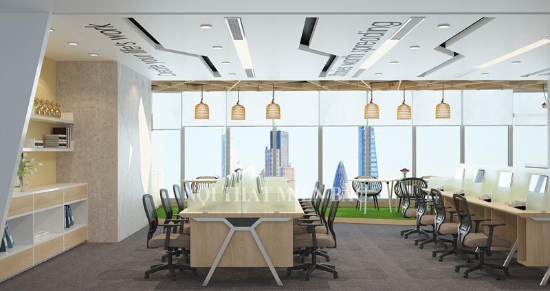 Thiết kế nội thất phòng làm việc đẹp phong cách mở tràn ngập sức sống