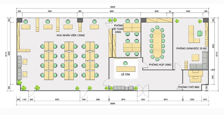 Thiết kế nội thất văn phòng xanh hiện đại VPMB01 - Mặt bằng