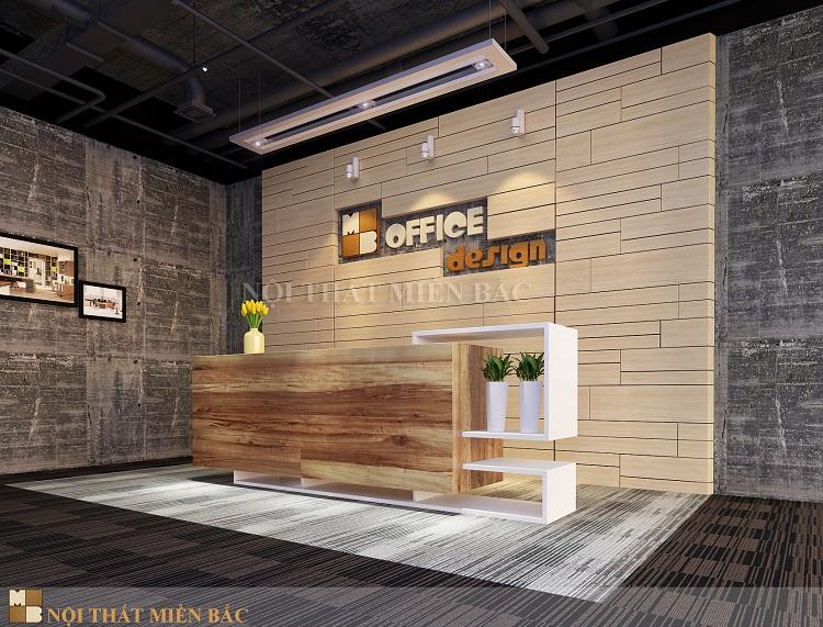 Thiết kế nội thất văn phòng xanh hiện đại VPMB01 - Quầy lễ tân