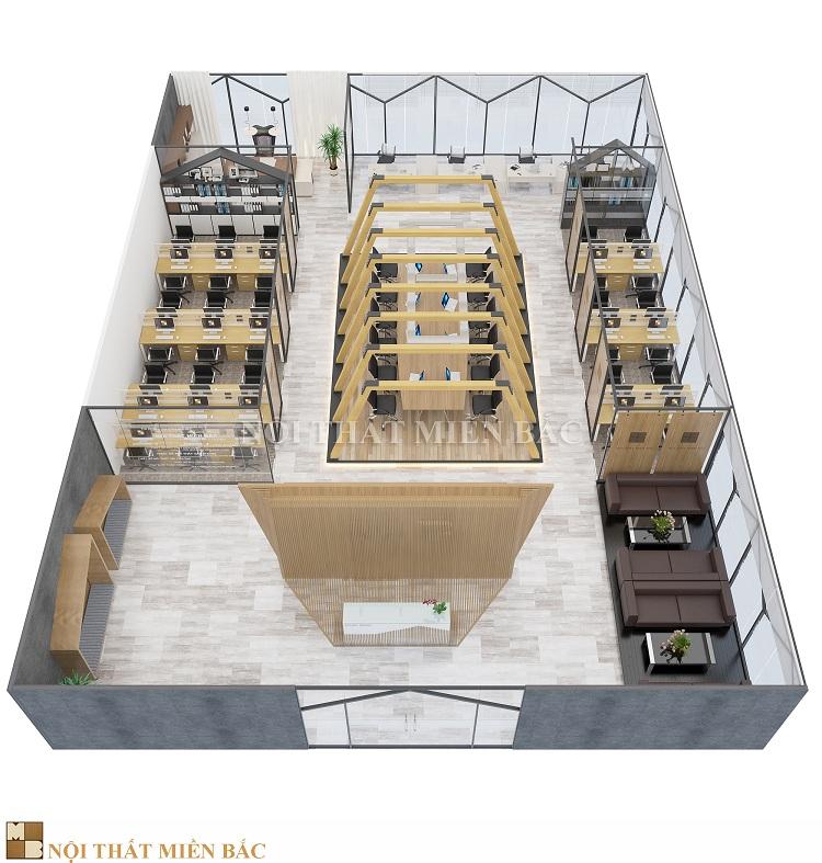 Thiết kế nội thất văn phòng cao cấp VPMB05 - tổng quan nội thất văn phòng