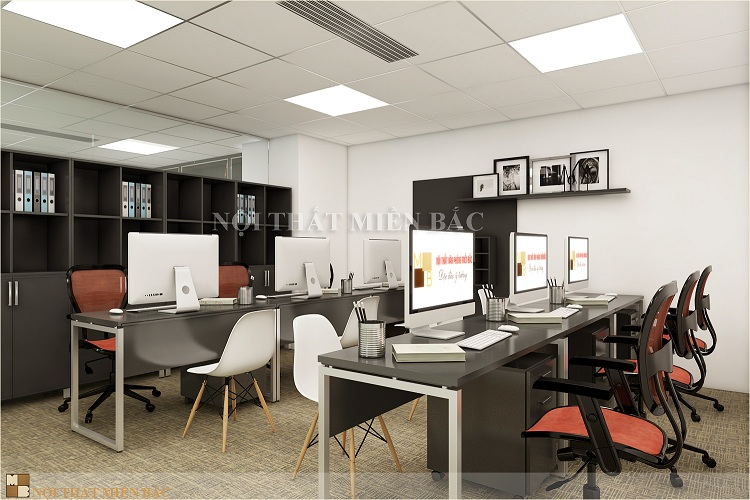 Thiết kế văn phòng nhỏ chuyên nghiệp sử dụng vách ngăn