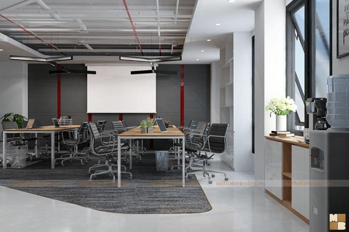 Thiết kế văn phòng 60m2 lựa chọn gam mà nhẹ nhàng, trẻ trung